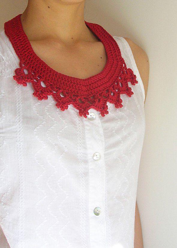 DIY crochet red necklace- collar/ Hazlo tú mismo, collar rojo a ...