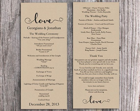 Wedding Program Template Printable Wedding Program Ceremony - Editable wedding program templates