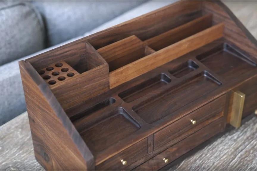 A Mid Century Inspired Desk Organizer In 2020 Desk Organization Solid Walnut Desk Walnut Desks
