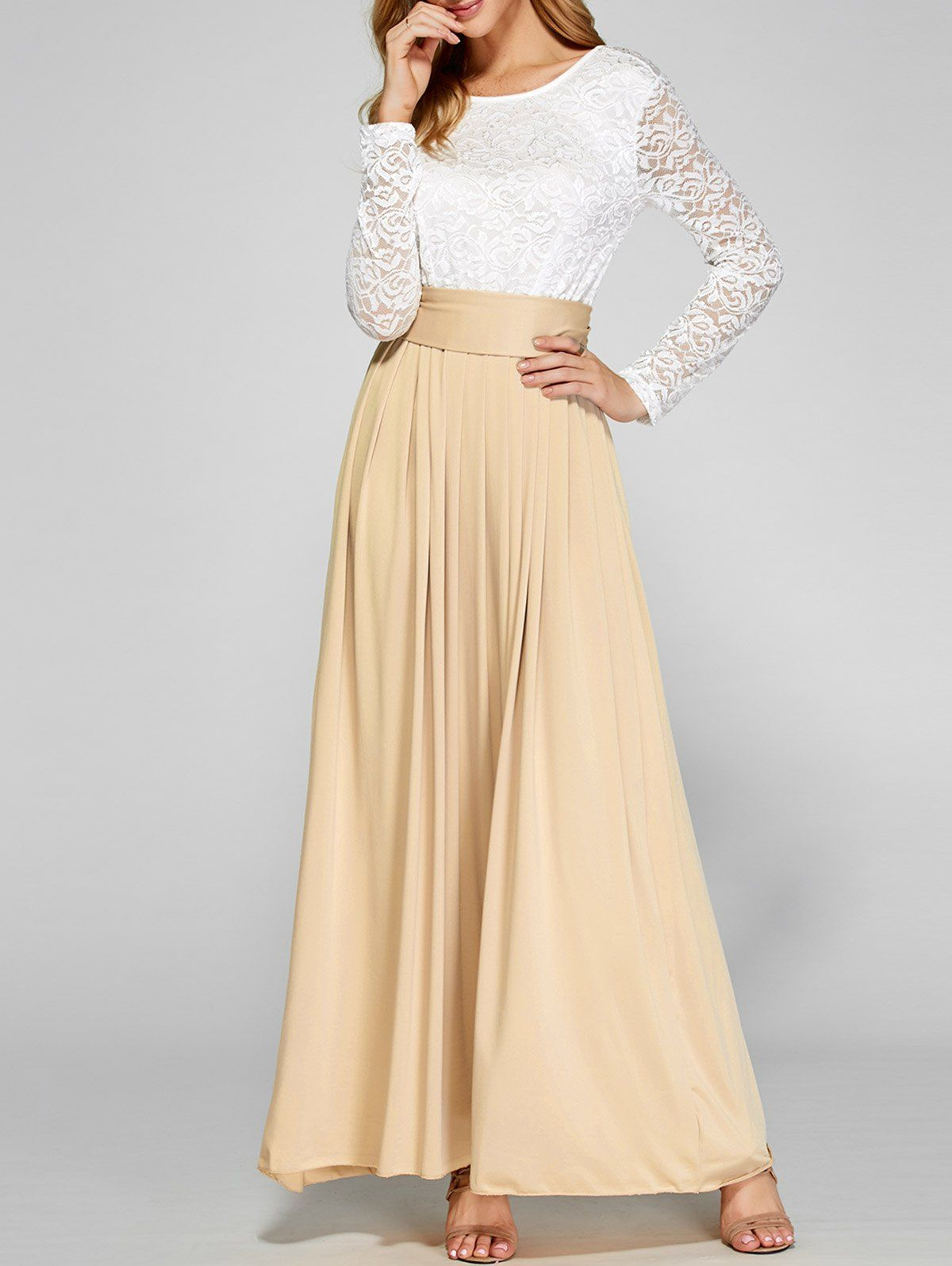 Long Sleeve Lace Bodice Maxi Dress Wish List Dresses Pinterest