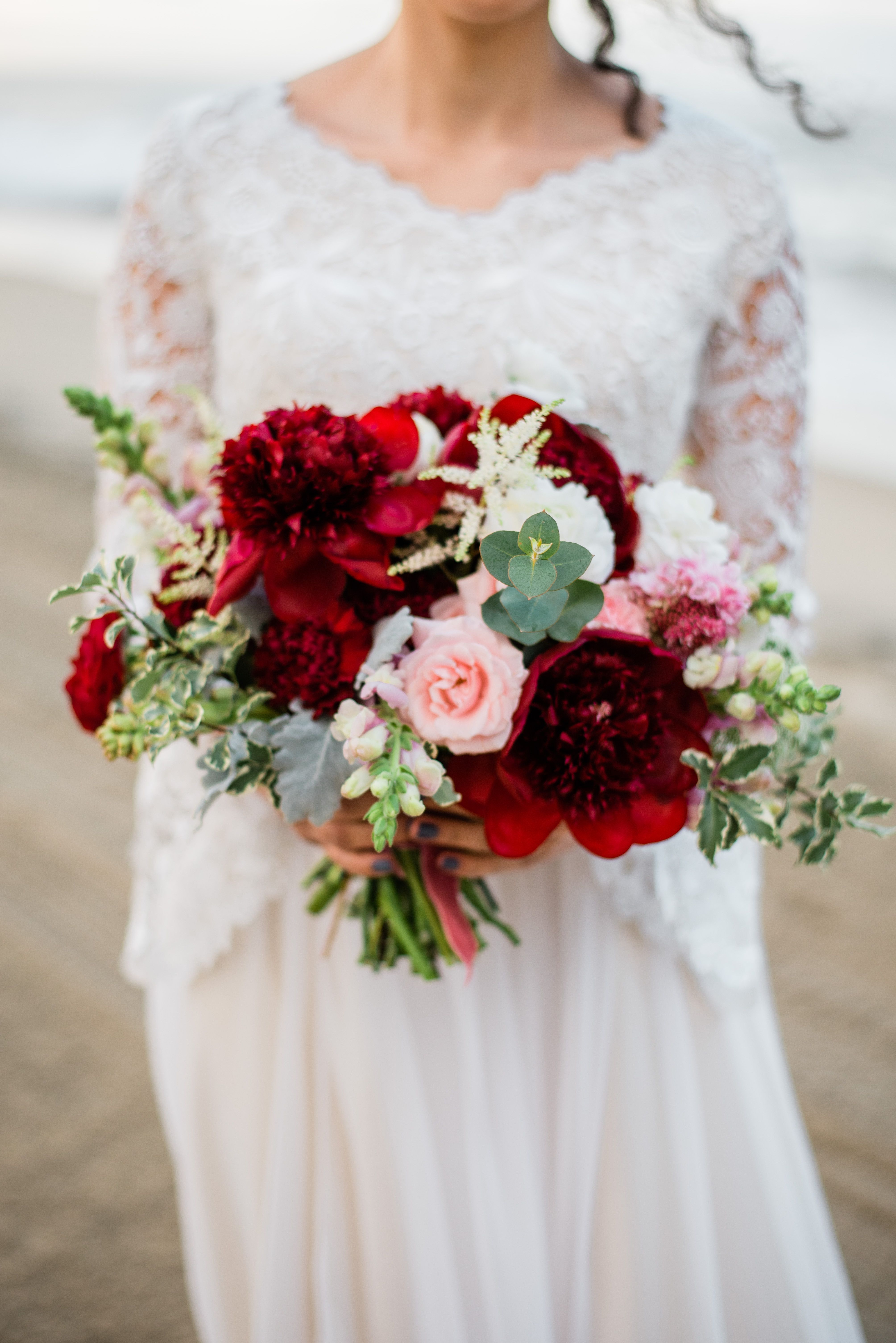 Abigail Erin Photography Beach Wedding Photos Peony Bouquet