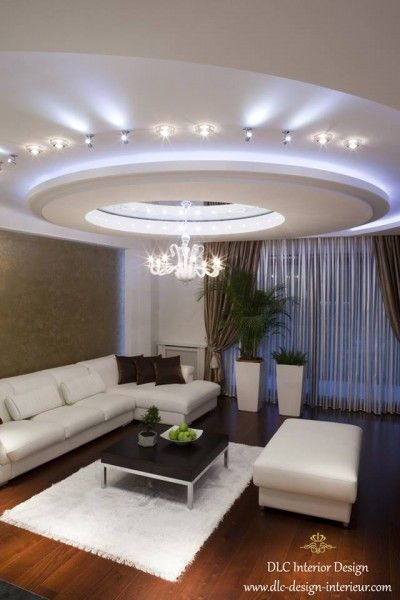 Faux plafond lumineux pinteres for Salon u moderne