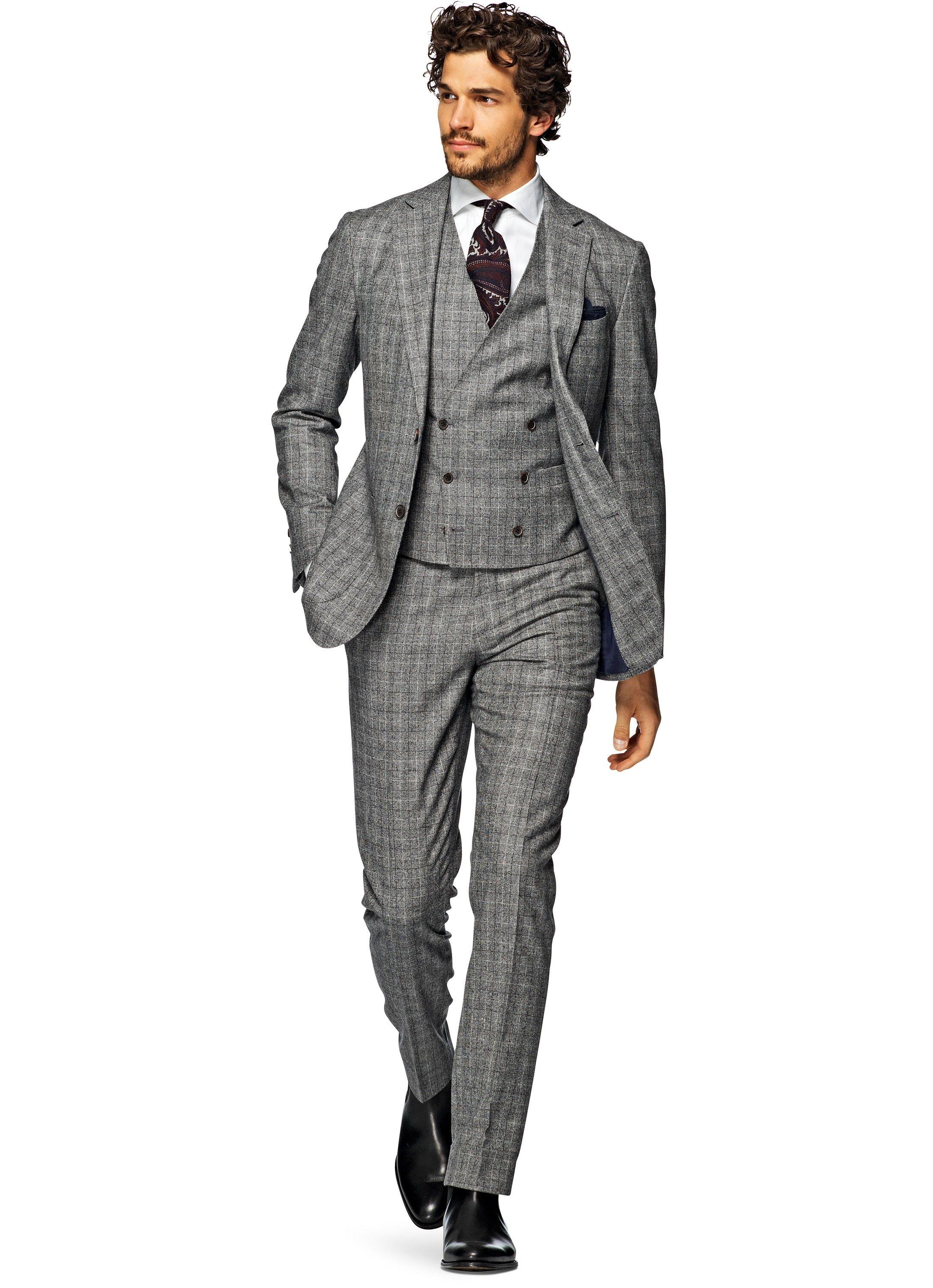 4d026407712 Suit Grey Check Havana P3984