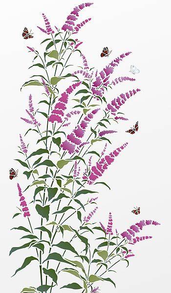 buddleia stem stencil patterns stencils stencil