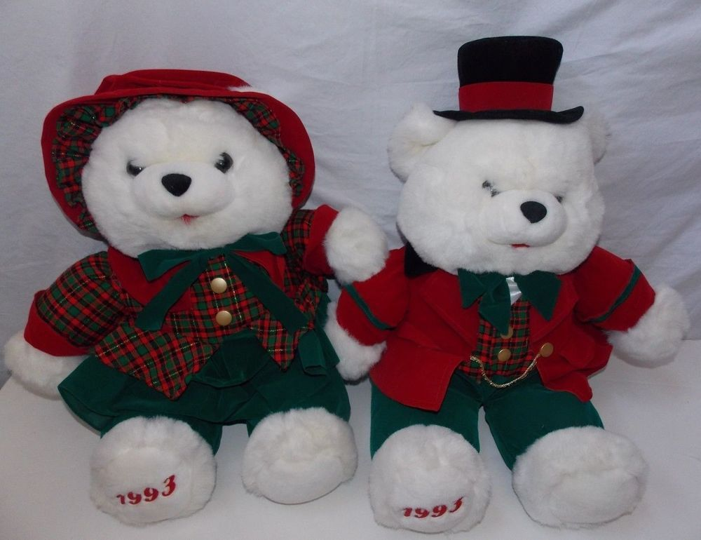 1993 Kmart Christmas Plush Bears Boy Girl Stuffed Animal Holiday 22 ...