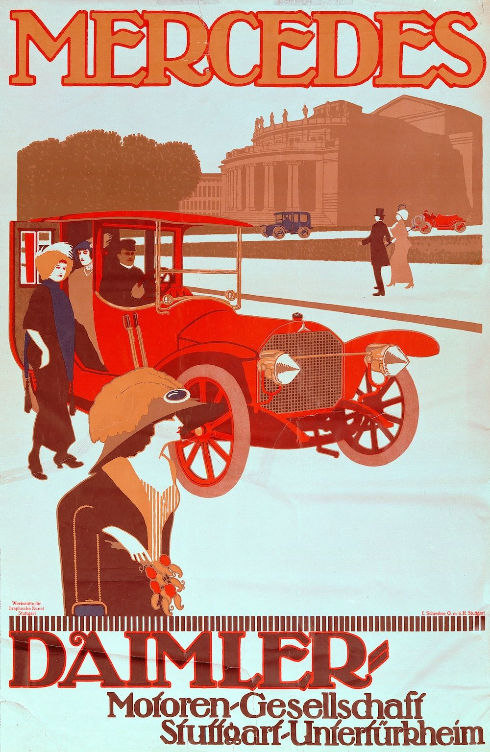 mercedes benz vintage ads this rare and highly valued poster by an anonymous artist from 1912. Black Bedroom Furniture Sets. Home Design Ideas