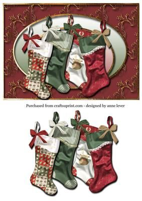Christmas Stockings family on Craftsuprint designed by Anne Lever - This festive topper has one layer of decoupage - Now available for download!