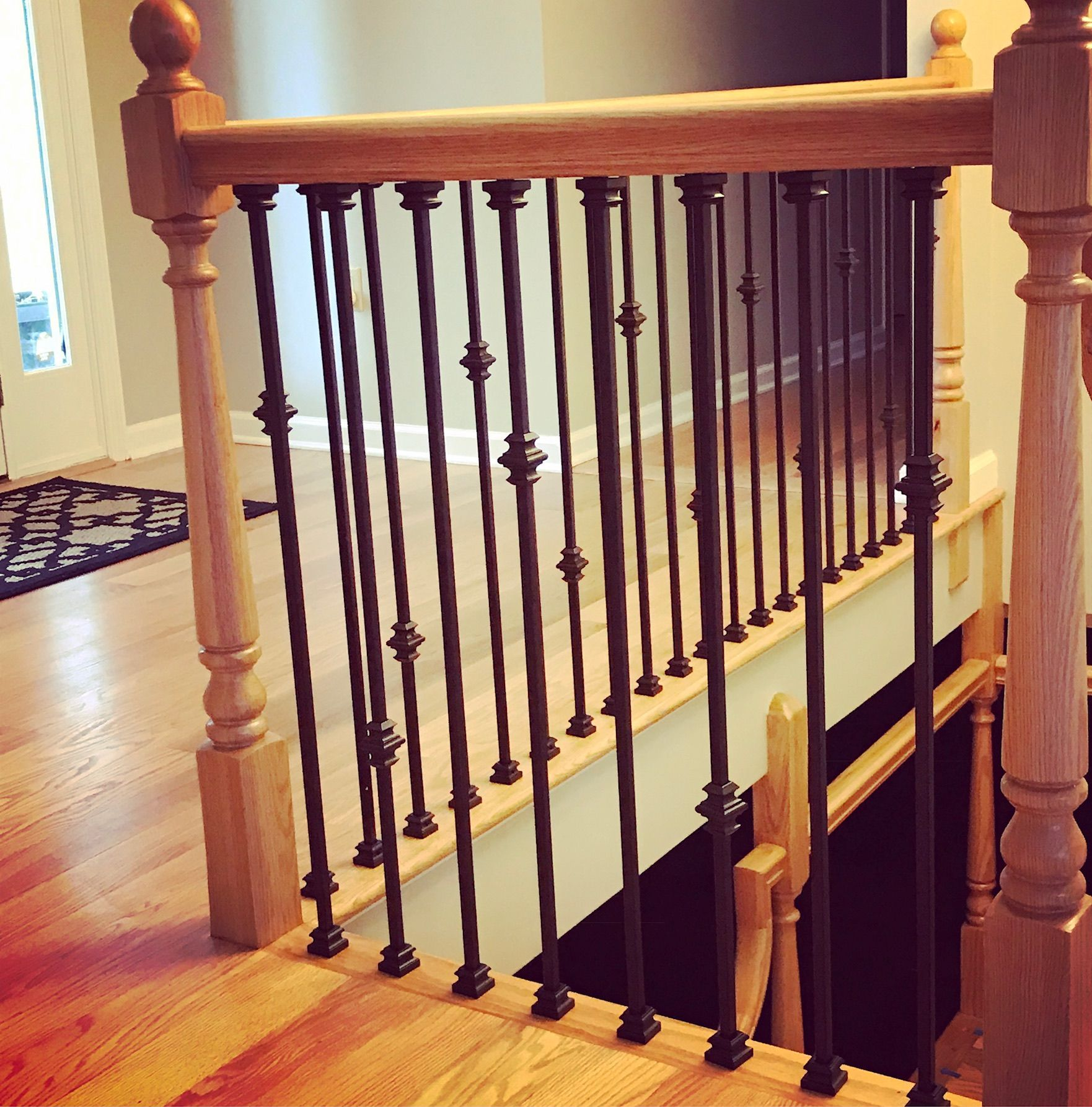 Staircase Update With Iron Spindles In Rubbed Oil Bronze Finish