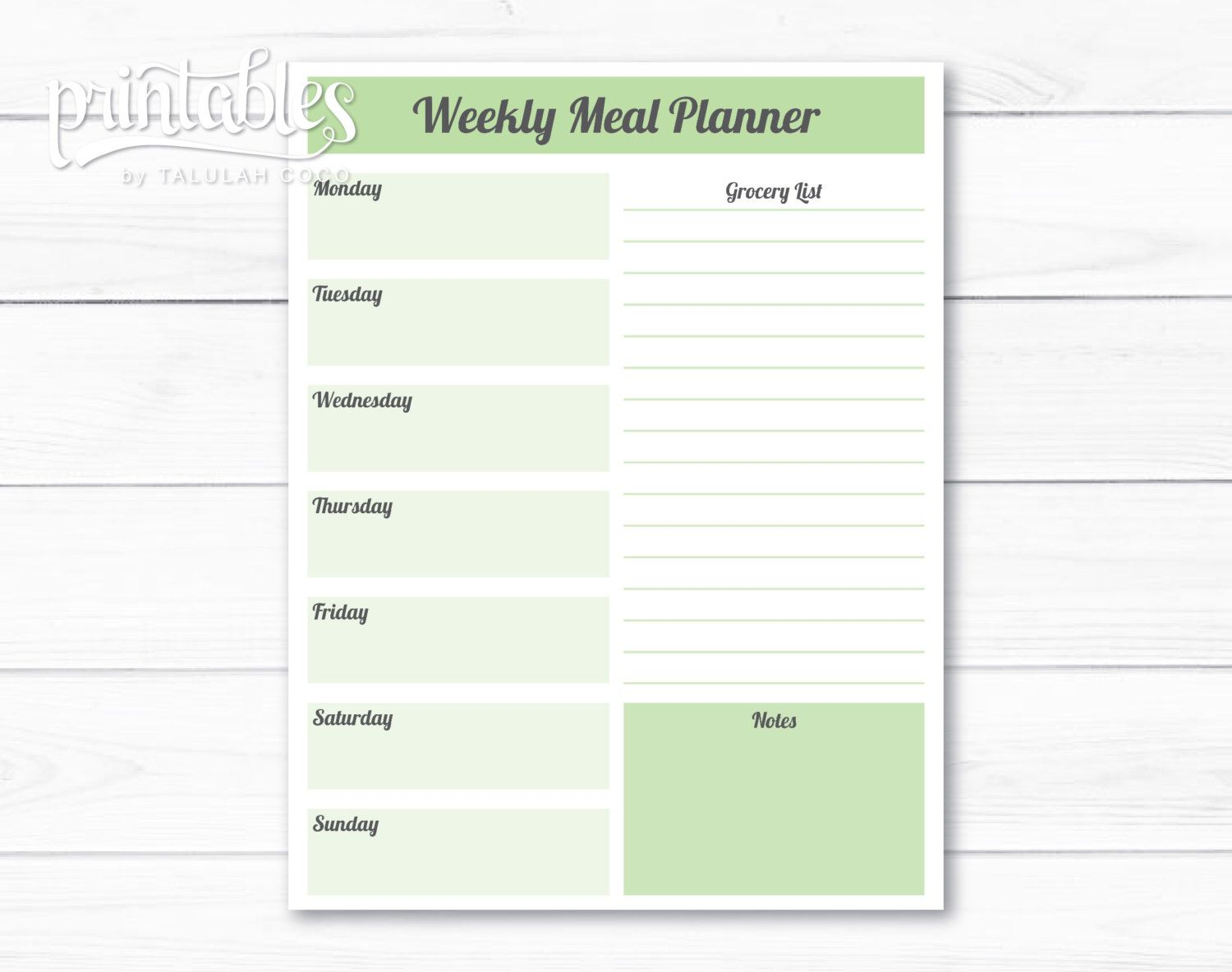 Editable Meal Planner Template Weekly Meal Planner With Grocery