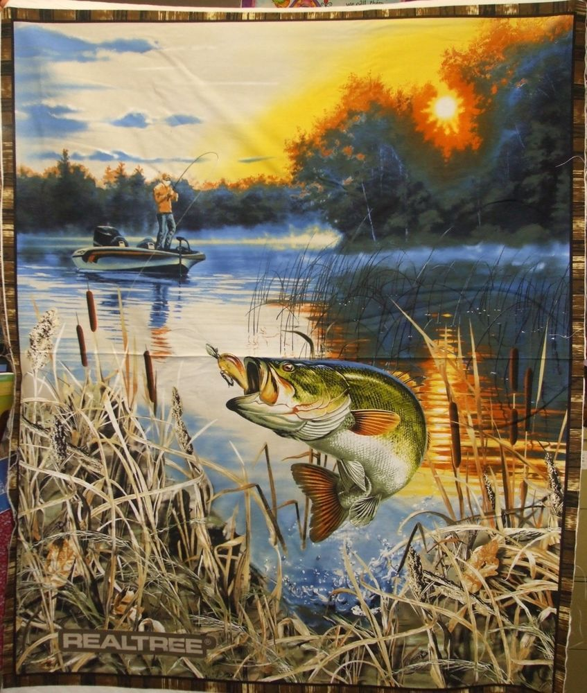 Realtree Bass And Fisherman Quilt Wall Panel Quilt Fabric 9939 Fish Quilt Panel Quilts Wildlife Quilts