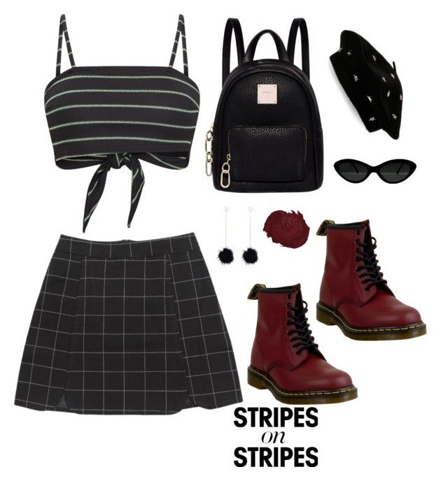 """all stripes"" by vale14m ❤ liked on Polyvore featuring Dr. Martens, Fiorelli, Steve Madden, stripesonstripes and PatternChallenge"