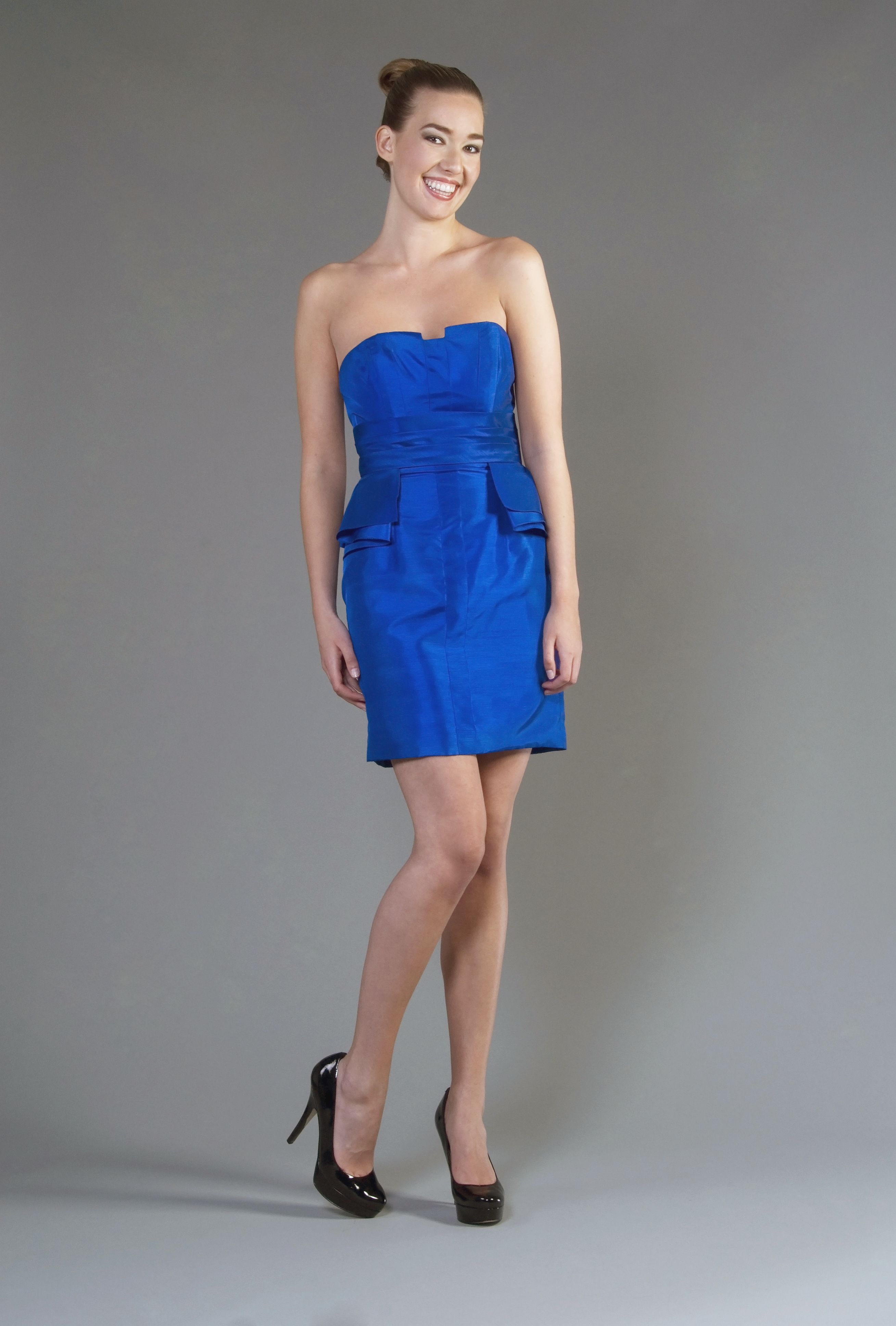 Added details for the skirt on this vibrant blue bridesmaid dress