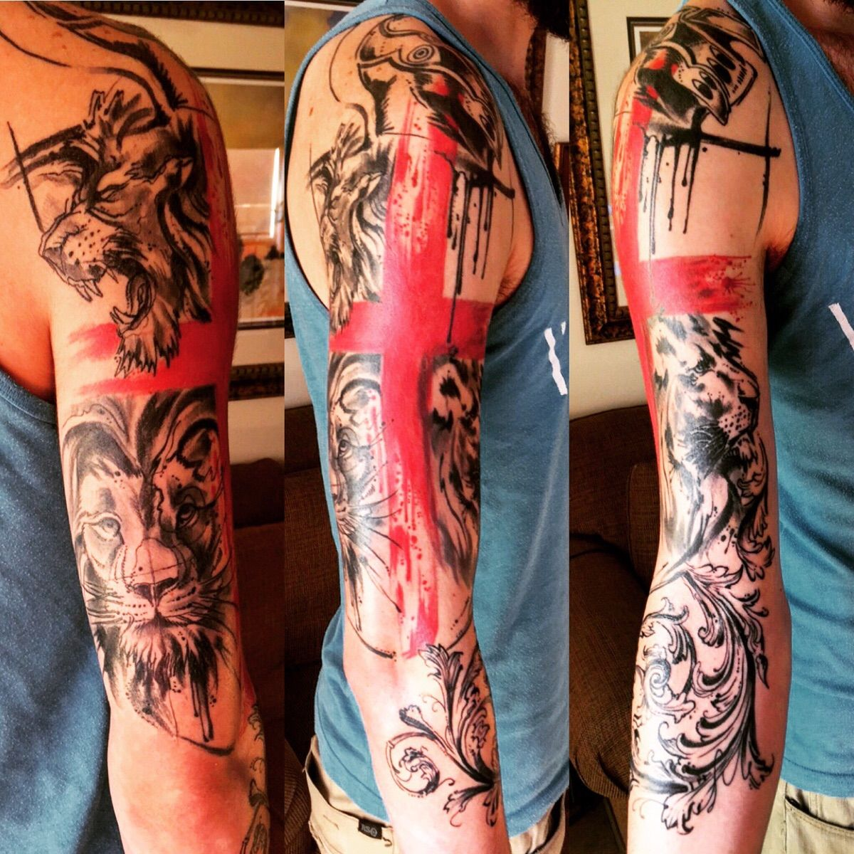 My abstract family crest sleeve, so far. Done by Johnny Mac at Tinta Cantina in Albuquerque, NM. That's fucking sick  Trash polka is the style.  Man, I'm pretty pedantic, but you take the cake. Thi...