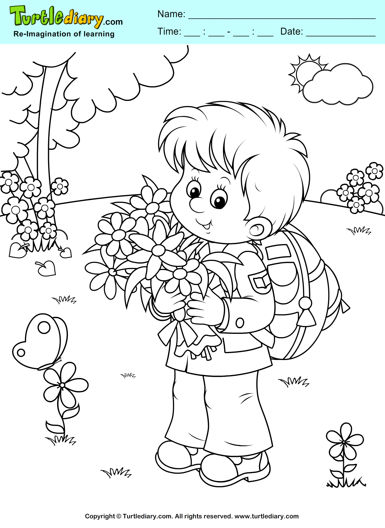 Boy With Flowers Coloring Page Coloring Sheet Spring Coloring Pages Bear Coloring Pages Cute Coloring Pages