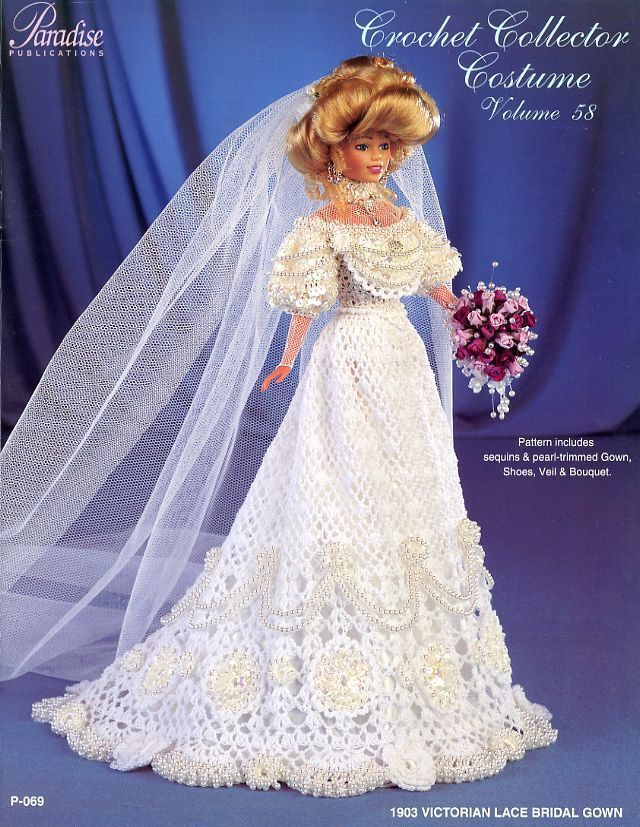 Details about 1903 Victorian Lace Bridal Gown for Barbie Paradise Vol. 58 Crochet PATTERN NEW #dollvictoriandressstyles