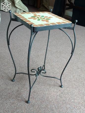 Sellette Petite Table Gueridon Fer Forgé Ceramique Wood Or Wood N