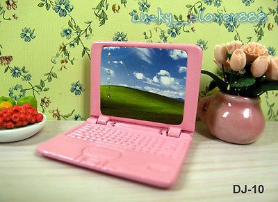 1:12 Dollhouse Miniature Mini Portable Metal Laptop Notebook PC Computer PINK