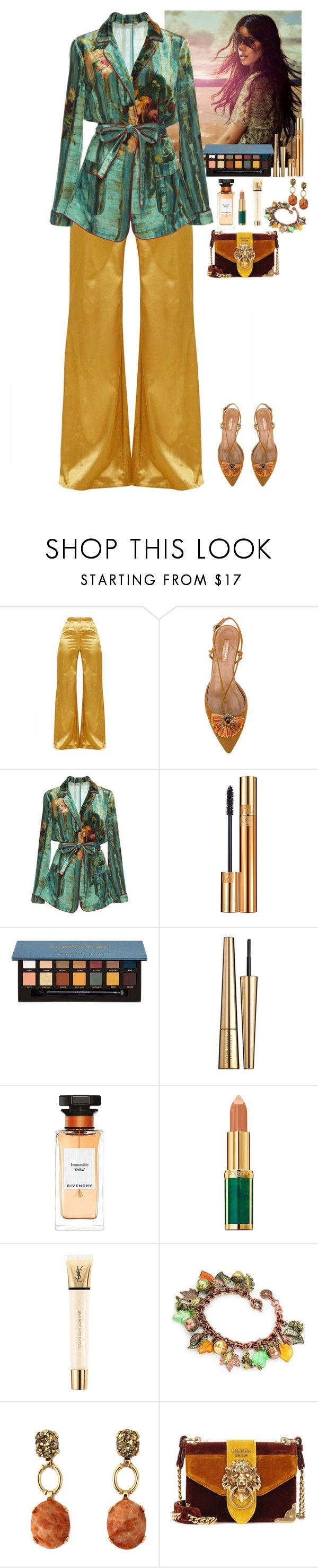 """""""Outfit"""" by eliza-redkina ❤ liked on Polyvore featuring Aquazzura, Alberta Ferretti, Yves Saint Laurent, Anastasia Beverly Hills, Victoria Beckham, Givenchy, Balmain, Prada, outfit and like"""