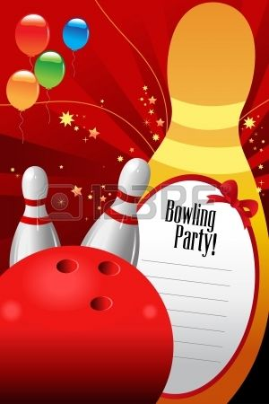 A Vector Illustration Of Bowling Party Invitation Template Stock