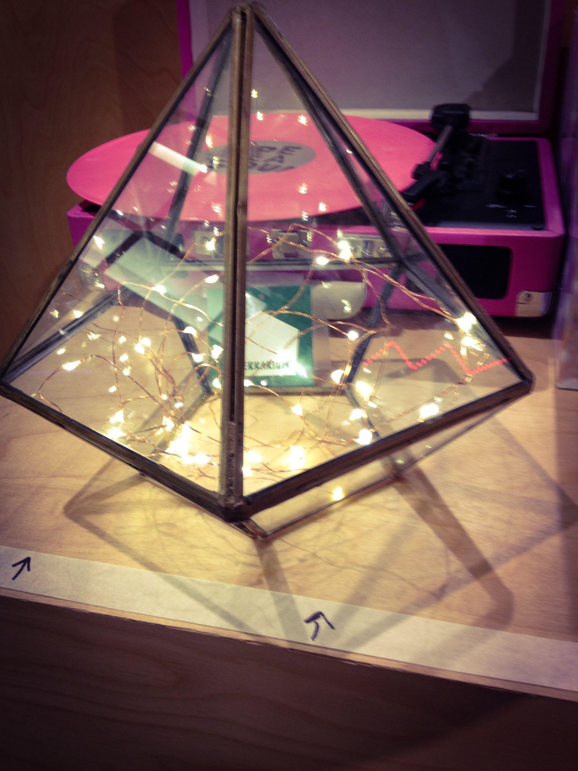 Diamond shaped terrarium with firefly twinkle lights inside great