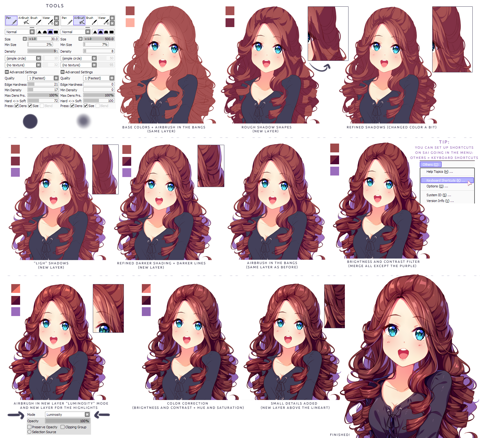 Hyan Style Shading curly brown hair by HyanDoodles on
