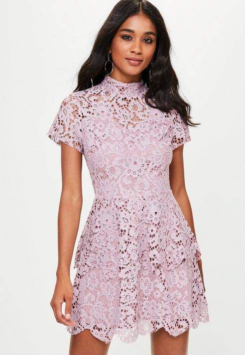 c60f8699505b Missguided Purple short sleeve double layer skater dress | Products ...