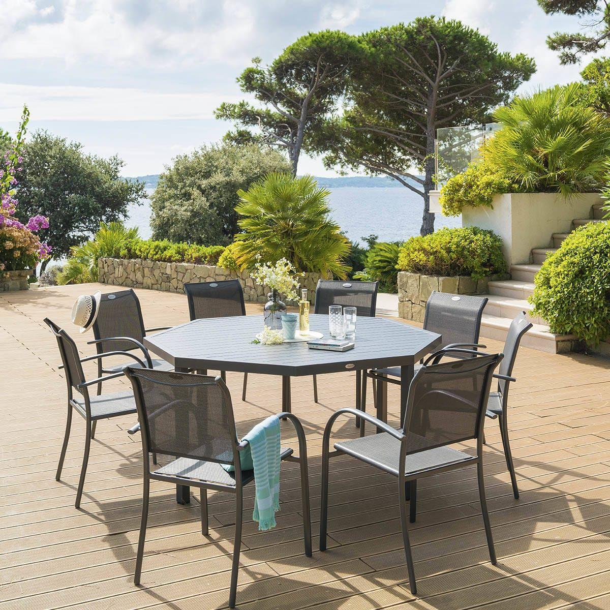 Table de jardin octogonale Piazza Graphite | Table de jardin ...