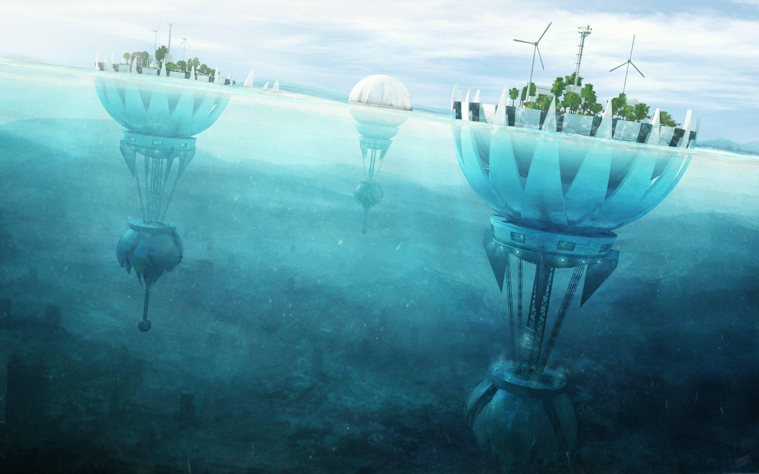 Water City Future Sea Artwork Architecture Underwater Science Fiction
