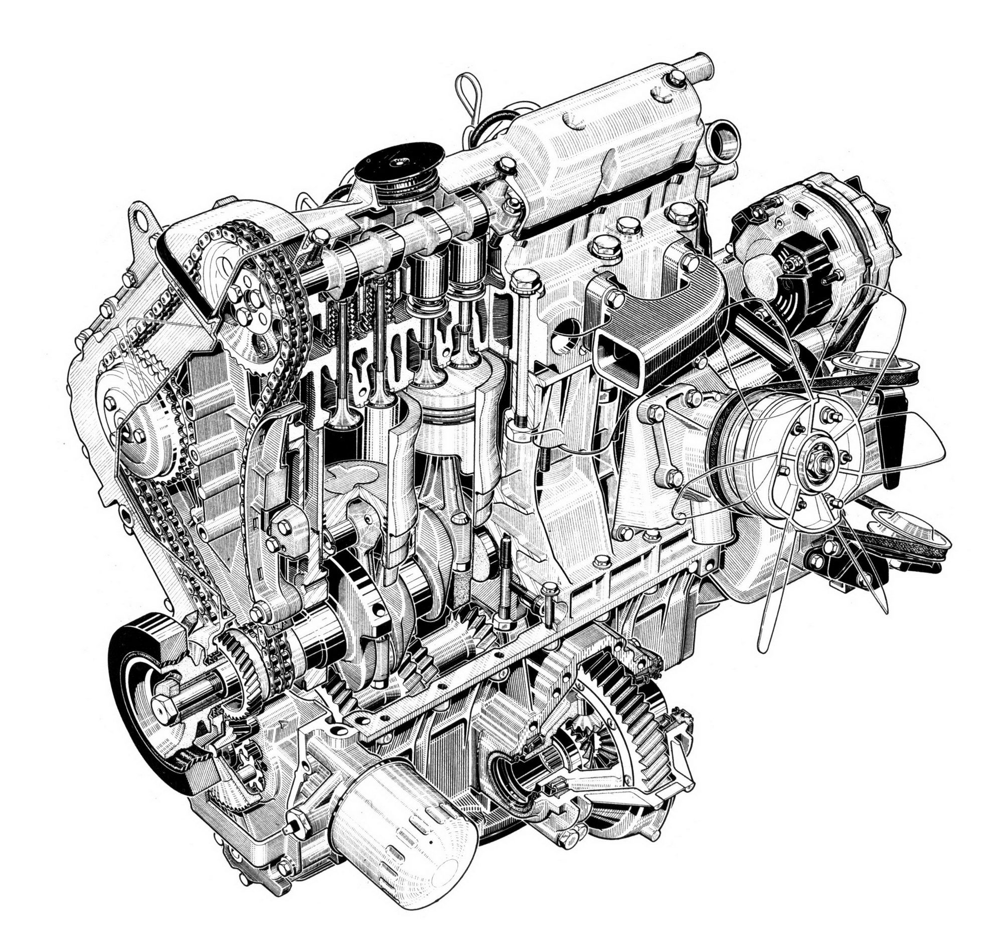 Peugeot Diesel Engine By Artist Unknown Cutaway Line Art - Cool decals for truckspeugeot cool promotionshop for promotional peugeot cool on