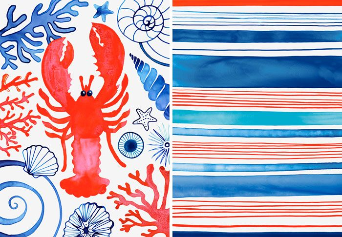 Margaret Berg Art: Lobster+Summer+Stripes