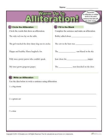 Alliteration Warm Up Activity  Alliteration Activities and