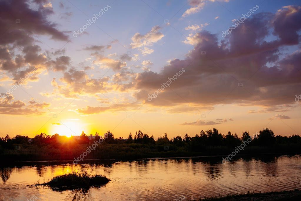 Beautiful summer sunset on the river - Stock Photo , #affiliate, #sunset, #summer, #Beautiful, #Photo #AD