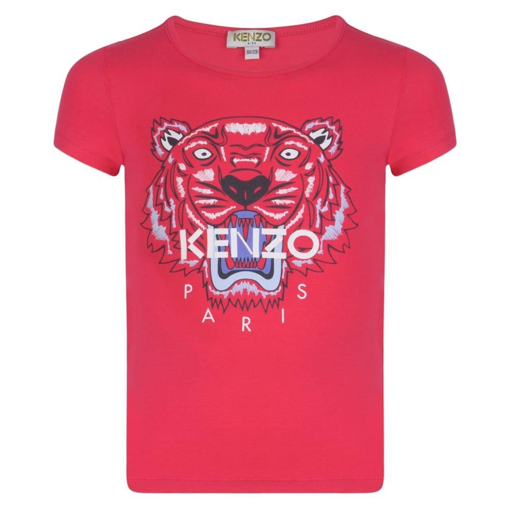 d55b4ef1 Kenzo Kids Girls Fuchsia Pink T-Shirt with Tiger Logo Print | Kenzo ...