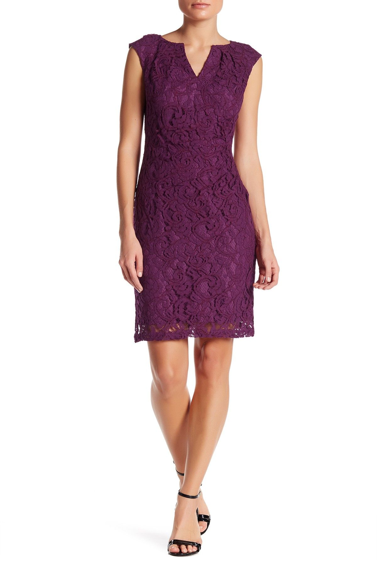 Adrianna Papell Cap Sleeve Split Neck Scroll Lace Dress Missy
