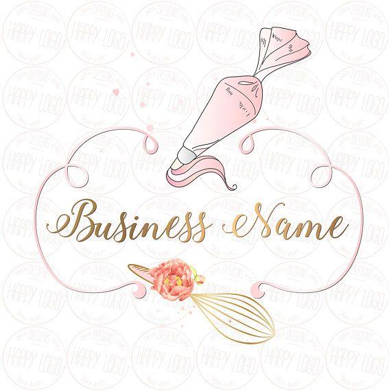 Digital Custom Logo Design Piping Bag Whisk Logo Cute Pastel
