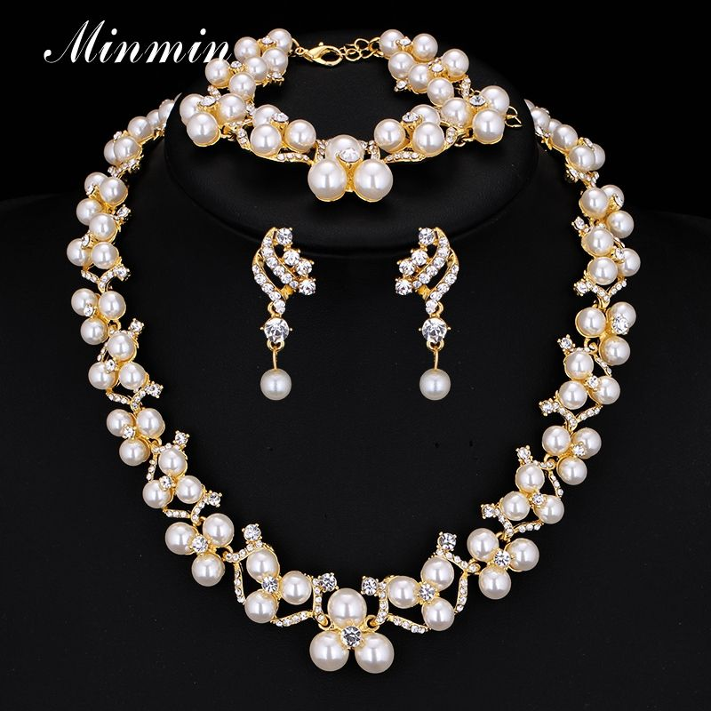 Minmin Crystal Simulated Pearl Bridal Jewelry Sets Gold Color Wedding Necklace Earrings Bracelets