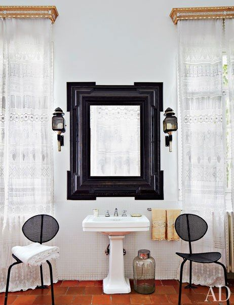 Bathroom   The Master Bath Includes Inlaid Wood Pelmets And  Embroidered Lace Curtains Custom Made By Local Artisans. The Mirror Is A  Flemish Antique, ...