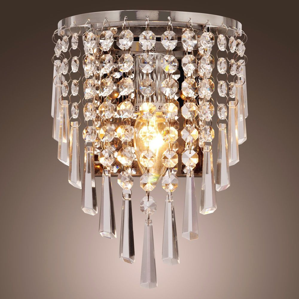 Wall Sconce Fixture Crystal Metal Chandelier Wall Lamp Light Home Decor Chrome Unbranded Contemp Modern Crystal Chandelier Crystal Wall Lighting Crystal Wall