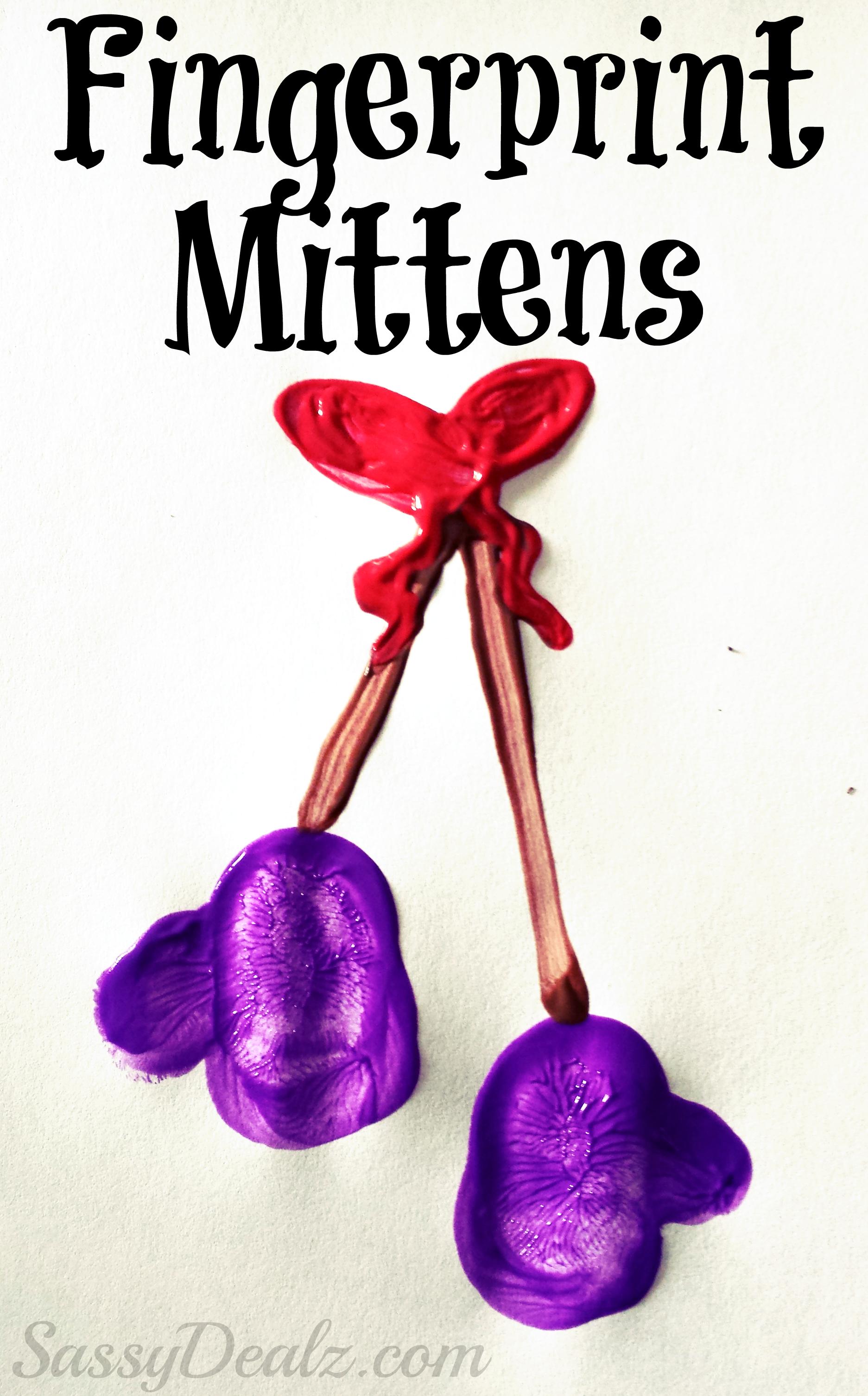 Fingerprint Winter Mittens Craft For Kids #Christmas Craft For Kids