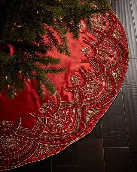 Kim Seybert Scalloped Christmas Tree Skirt $595 - FREE S  H