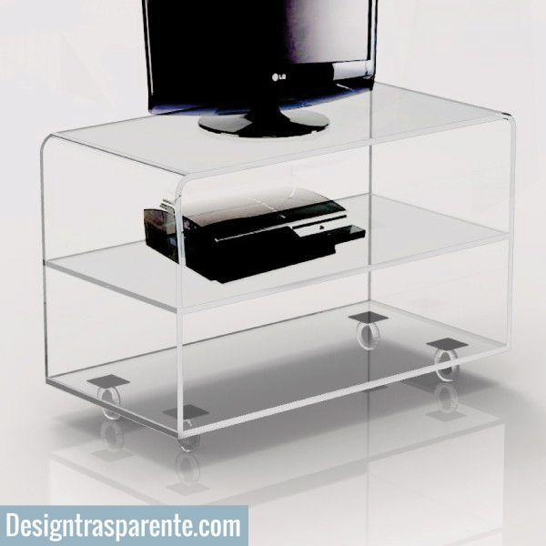 Carrello porta tv in plexiglass trasparente con ruote | Be a fan of ...