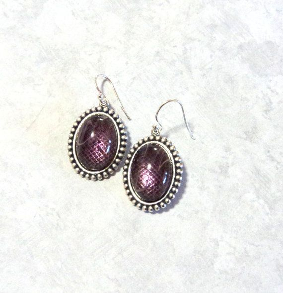 Earrings Amethyst Swirled Glass Cab Antique by TAKUniqueDesigns, $8.50 #RT