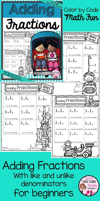 Adding Fractions with Unlike Denominators Fun Worksheet   Adding ...