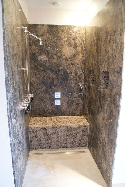 Inloopdouche natuursteen - via Nieuwenhuizen natuursteen   badkamer ...