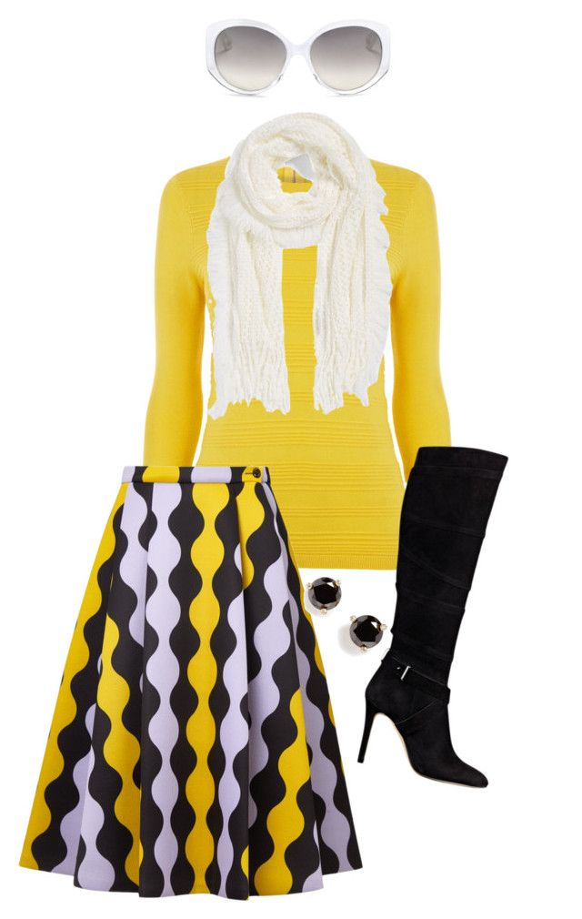 """Amarillo, Negro & Blanco"" by ay-cr ❤ liked on Polyvore featuring Warehouse, VIVETTA, Modena, Kate Spade, GUESS and Christian Dior"