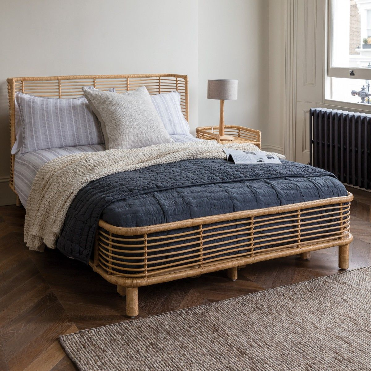 NADIA Natural handwoven rattan kingsize bed frame 150cm in