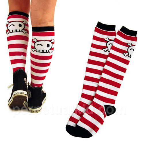 skull knee socks