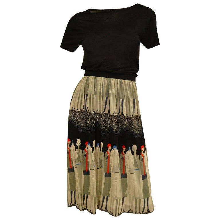 771349eba Vintage Jenast Paris Black and Olive Knit Wear 1920s Deco Print Skirt Set