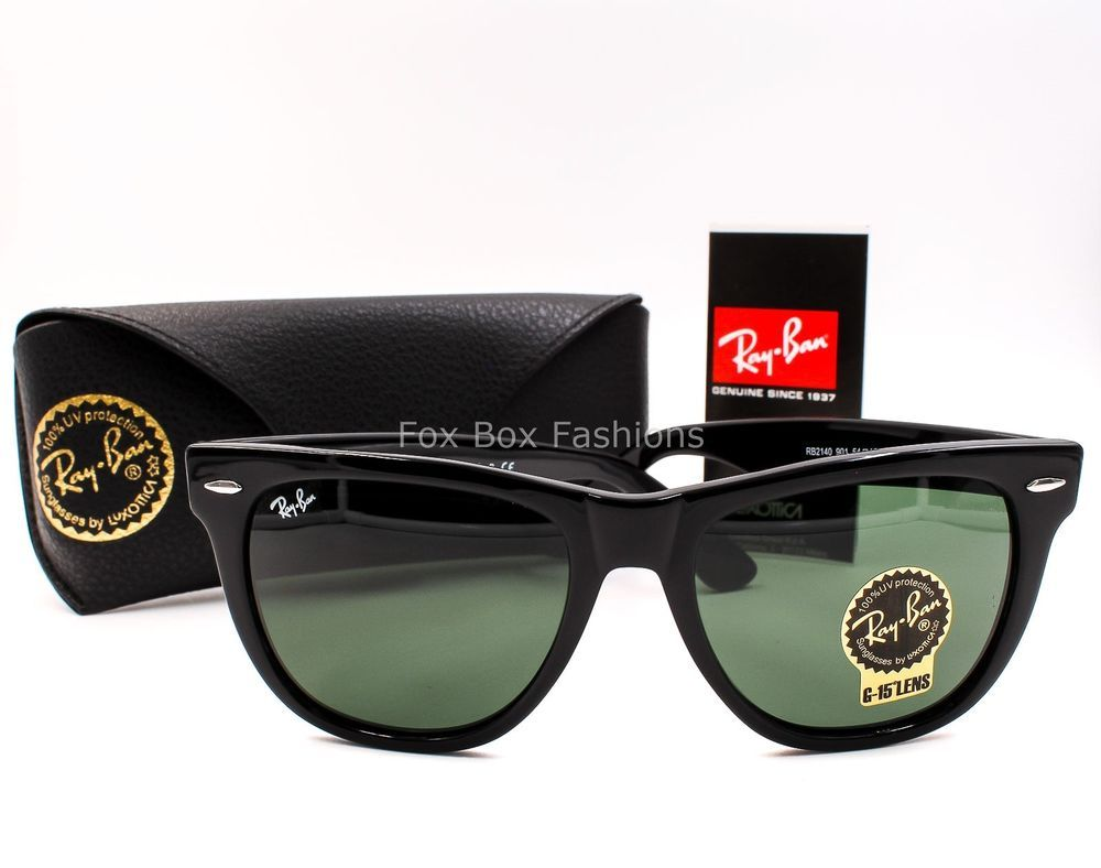f2962c07fac4e RAY-BAN Wayfarer 2140 901 Sunglasses Black Green Lens 54mm (LARGE) PLEASE  READ  fashion  clothing  shoes  accessories  unisexclothingshoesaccs ...