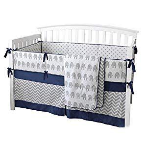 7 Pieces Set Elephant Crib Bedding Baby Bedding Set Sweet Navy Grey Chevron Baby Nursery Crib... #boydollsincamo